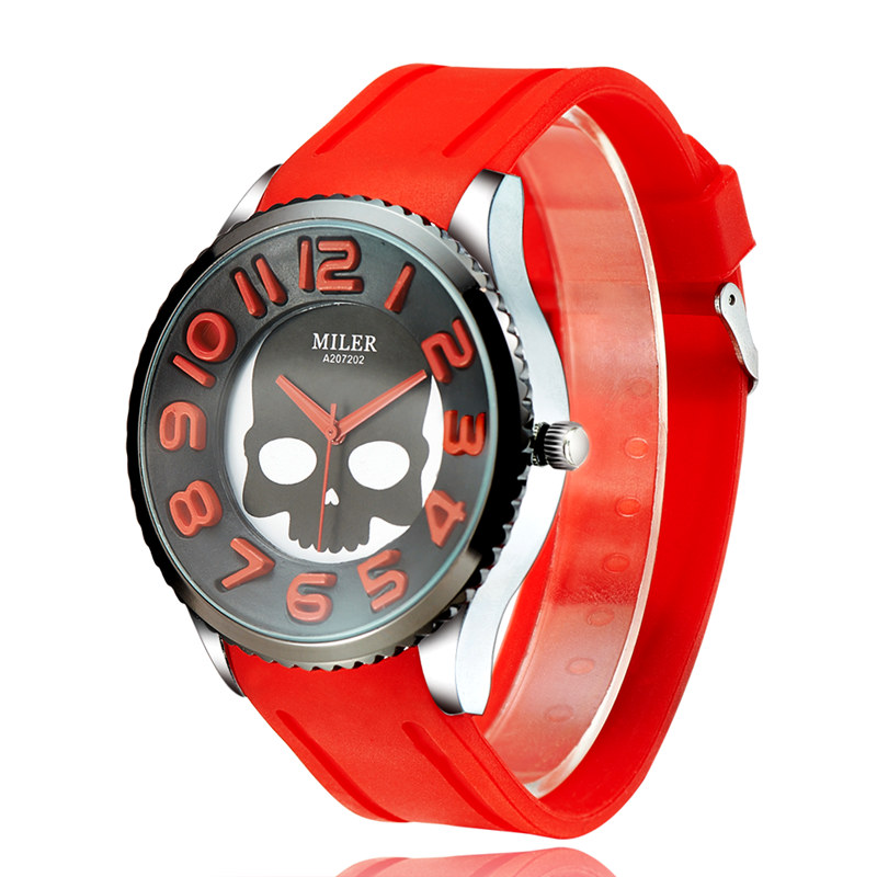 Silicone women skull quartz watches new hot sale young cute new designer casual fashions silicone round dial watches relogios(China (Mainland))