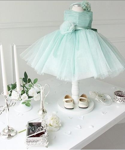 Tulle Ball Gown O-Neck Sash Flower Bow Flower Girls Dresses Mint Green Lilac Hot Sale Girls Dresses For wedding Party Size 2-14