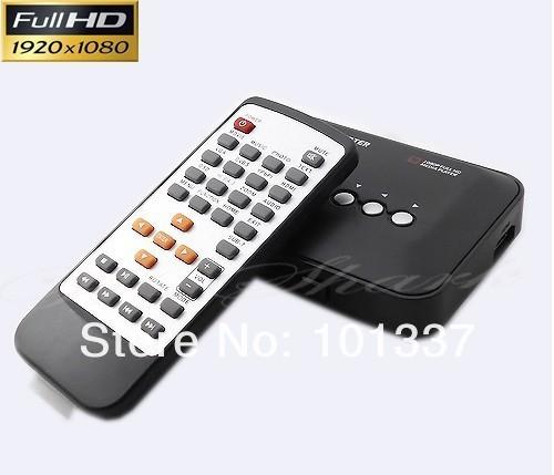 Free Shipping! 3D Full HD 1080P HDD HDMI Media Player IR Remote control AV MKV H.264 RM  SD USB HDD,support external DVD ROM