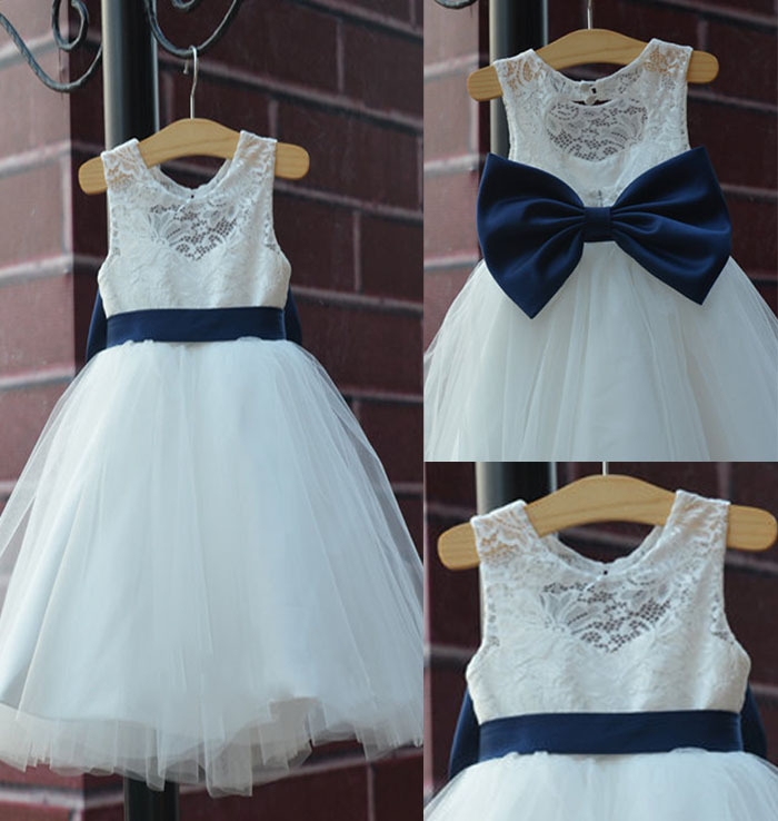 Buy 2016 rustic ivory lace navy blue sash for Country wedding flower girl dresses