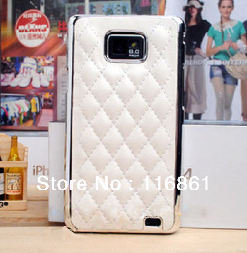 Leather Chrome Case Cover For Samsung Galaxy S2 i9100 (White)