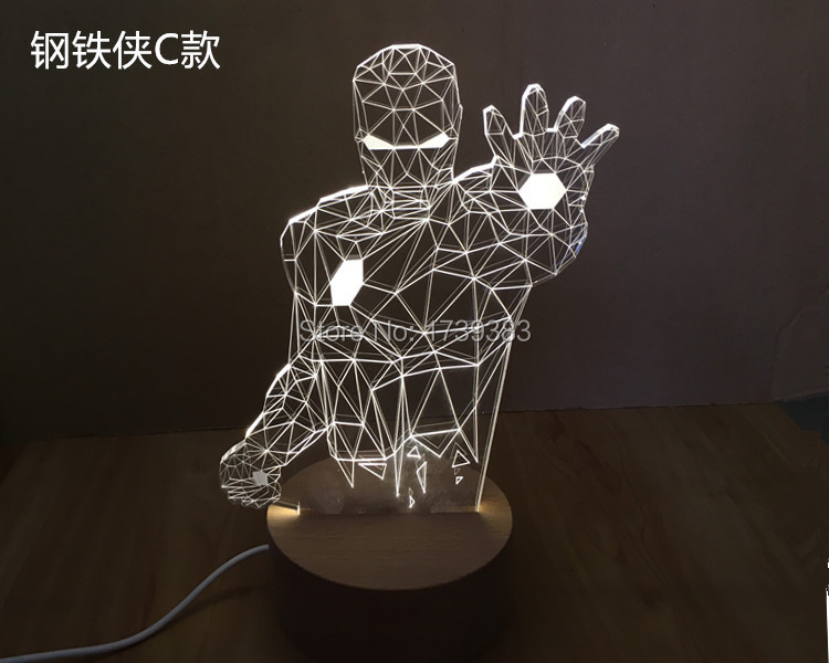 Free Shipping 1Piece 3D rechargeable Avengers Iron Man Model LED Night Light USB 3D LED Mood Lamp For Christmas Gifts<br><br>Aliexpress