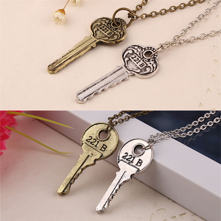 the key to 221b a Sherlock necklace vintage 221b key antique silver and bronze pendant for men and women wholesale(China (Mainland))