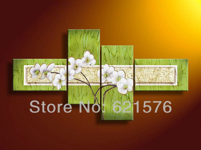 Hand-painted modern wall art picture Home decor abstract White daffodil texture flower oil painting on canvas 4pcs/set framed(China (Mainland))