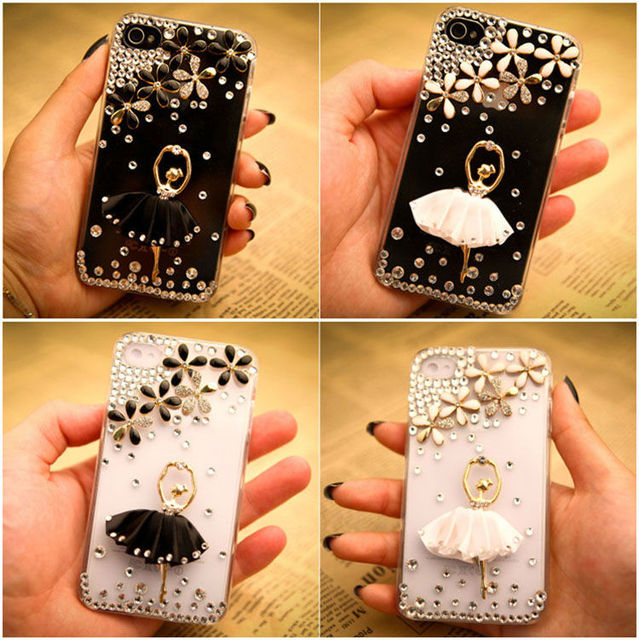 Luxury 3D Ballet Girl Bling Crystal Diamond Case Cover For iPhone 4s 4g Cell Phone Accessories
