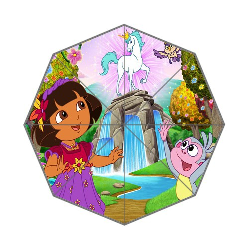 Cartoon Dora the Explorer 43.5 inch Foldable Anti Rain Durable Umbrella free shipping ideal gifts for kids(China (Mainland))