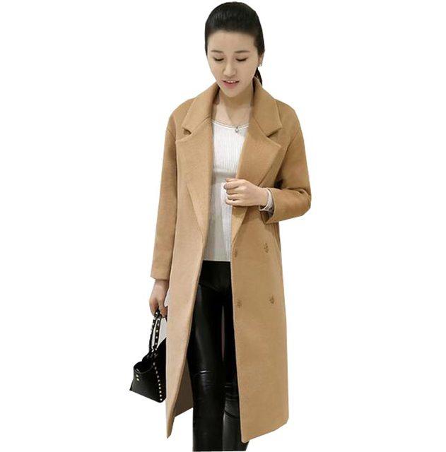 2016 женщины осени зимы куртка длинные пальто женщин свободные костюм воротник длинный отрезок твердые женщины куртка женский пальто kp1092