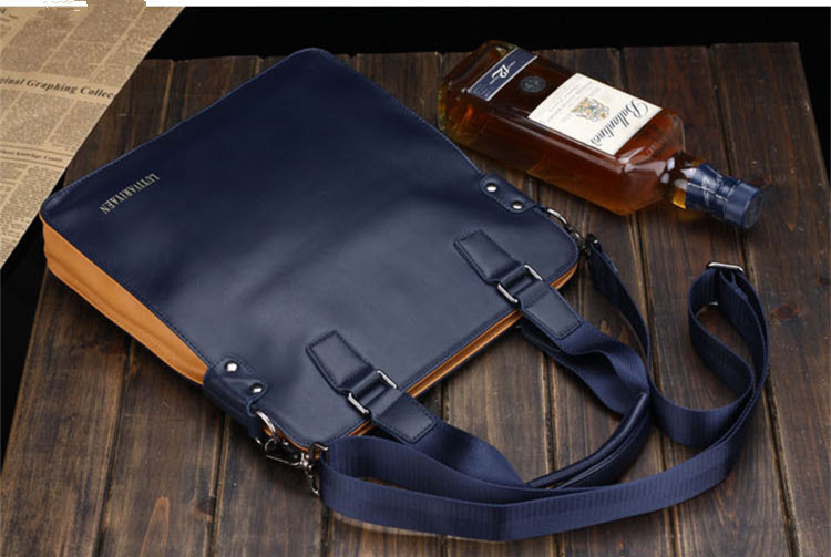 Hot!new Genuine Leather dress Briefcases Mans messenger bag 2colors patchwork 3sizes fashion business shoulder bag IPAD hand bag(China (Mainland))
