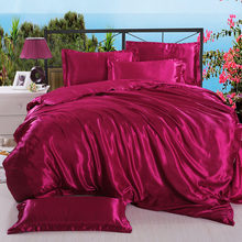 Write Black / White Bedding Sets King Double Size Satin Silk Summer Used Cold Bed Linen Luxury Bedding Kit Duvet Cover Set(China)