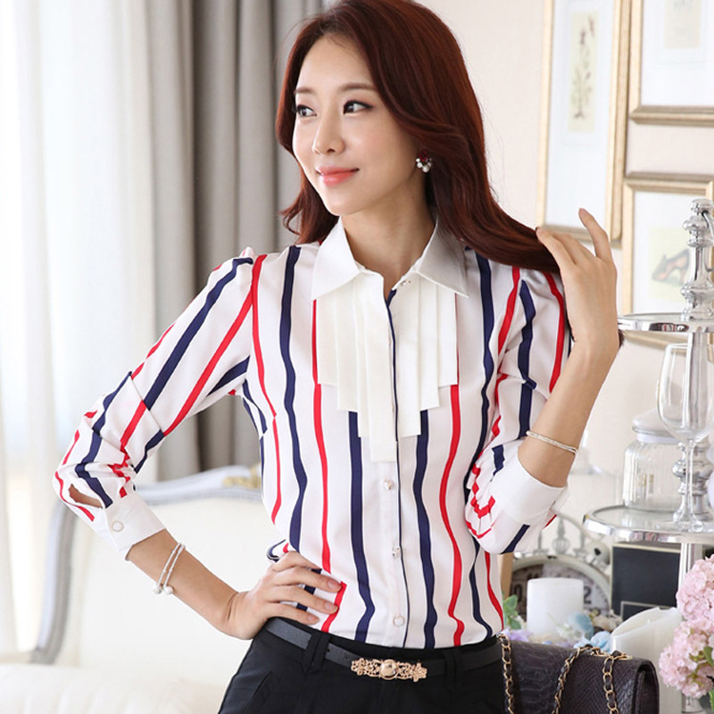 Lady Chiffon Striped Blouses Plus Size S-3XL Ruffled Collar Korean Fashion Style Women Casual Career Shirts - Natural Beauty Clothing store
