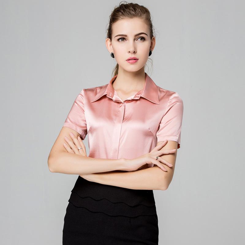 Buy Women Silk Blouse Short Sleeve Blouse