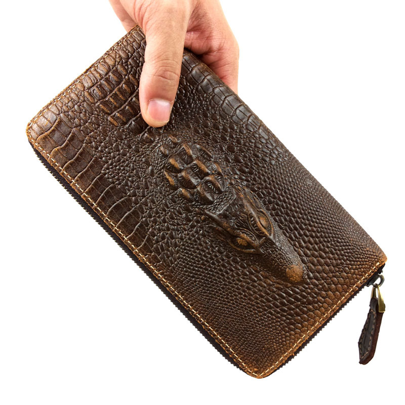 Crocodile Alligator Genuine Leather - 2016 new leather wallet zipper hand bag head layer cowhide crocodile bag Best gift for men(China (Mainland))