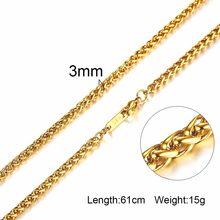 Vnox 3-6MM srebrny Tone wąż kokon Curb Link płaskie pudełko łańcuchy pszenicy ze stali nierdzewnej mężczyzn naszyjnik Choker biżuteria 24 inch(China)