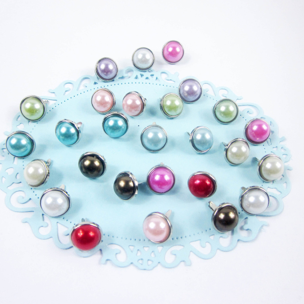 12mm pearl plated decorative colourful brads scrapbooking/gift/photo album DIY embellishments 100pcs/lot(China (Mainland))