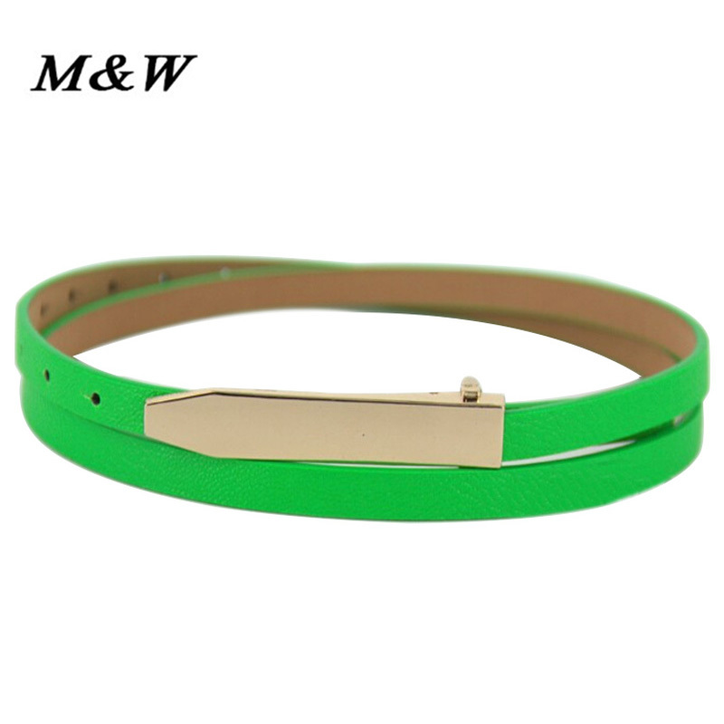 Fashion Candy Color Gold Metal Buckle Thin cintos femininos Women s Pigskin Leather belt good quality