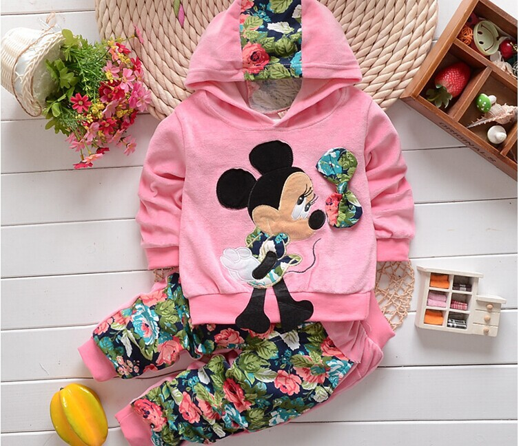 2015 New Autumn Fashion Kids clothes Cartoon Design Minnie Cotton Hooded Full Sleeve baby Clothing Set babi Suit A180(China (Mainland))