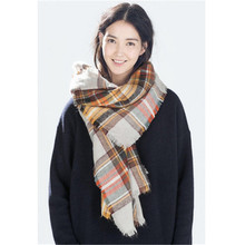 Winter Fashion 2016 Women Tartan Plaid Brand Scarf Thick Cashmere Scarf Lous Muffler Scarves Basic Wrap Shawl WJ0141