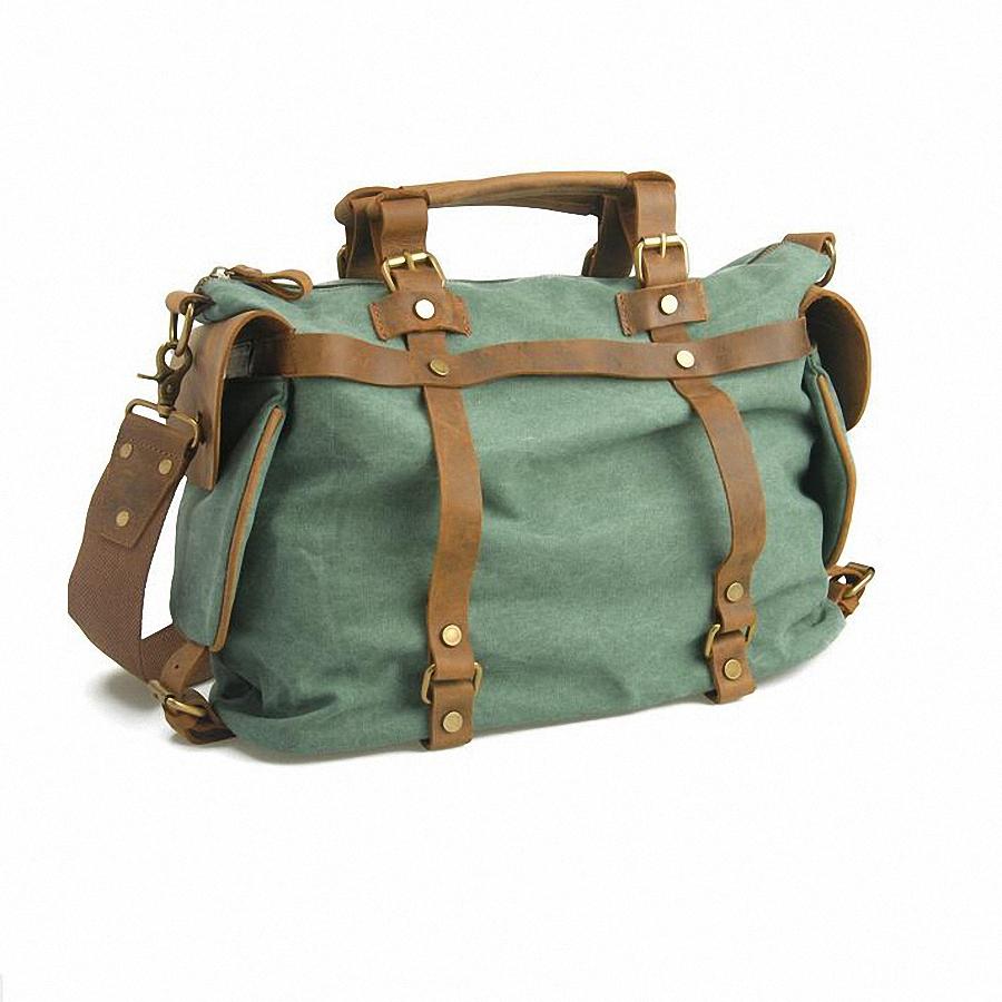 14 inch laptop crazy horse Genuine Leather Canvas Handbag Men Military Duffel Bag For Man Canvas Luggage Travel school BagLI-445(China (Mainland))