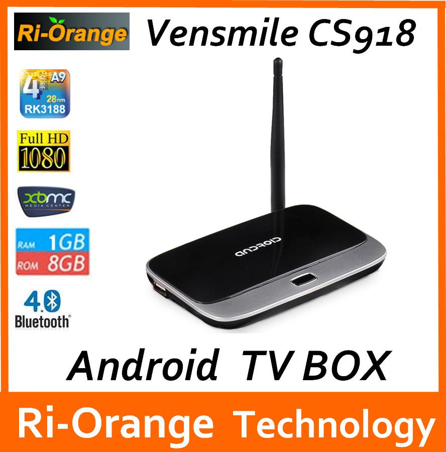 Vensmile CS918 1G/8G Android TV Box mk888 Smart tv box Full HD Media Player RK3188 Quad Core Bluetooth Wifi(China (Mainland))