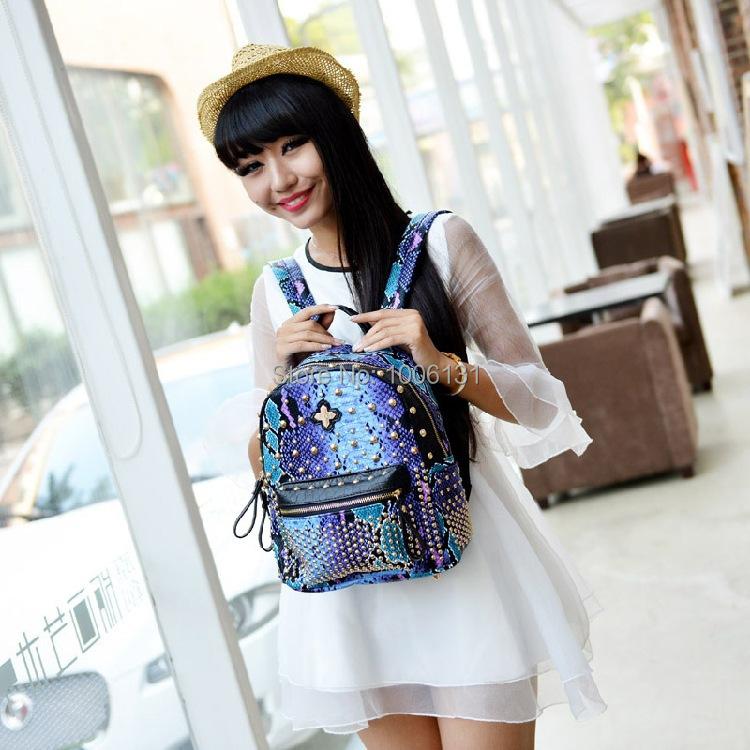 Fashion snakeskin back pack solid big zipper in waterproof school bag korean storage unisex high soft female for color backpack(China (Mainland))