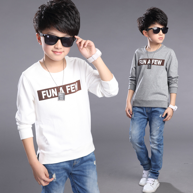 Children autumn t shirts 2016 boys fall top 10 12 13 15 for T shirts for 15 year olds