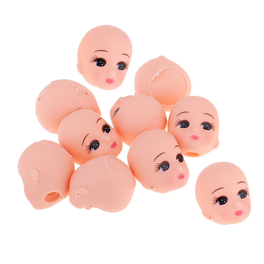 10pcs Sleeping Baby Doll Head Sculpt Without Hair Wig For Mini Keychain Baby