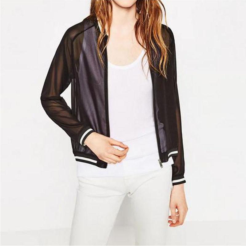 2016 Hot Sale Women Fashion Autumn Voile Zipper Long Sleeve Simple Casual Jackets Women Coat Jaqueta Feminina(China (Mainland))