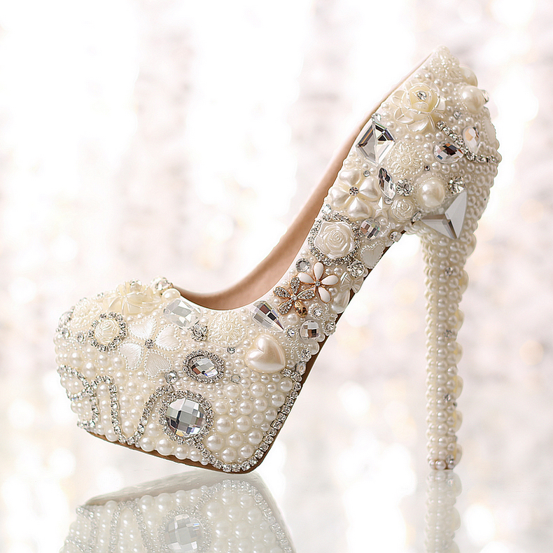 2015 new women fashion high heels prom wedding shoes ladies Pearl platforms rhinestone studded wedge party pumps - Classic Store store