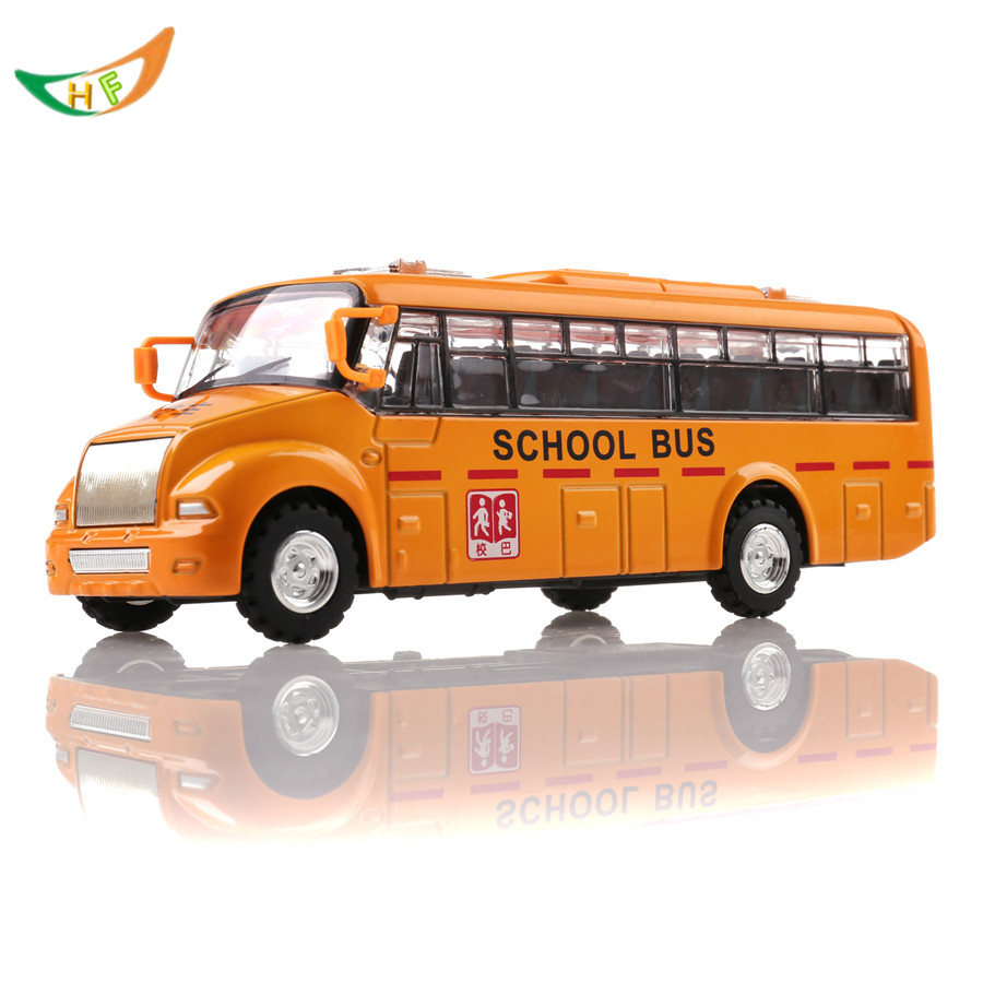 Alloy bus toy long metal yellow school bus car acoustooptical model toy kids birthday present(China (Mainland))