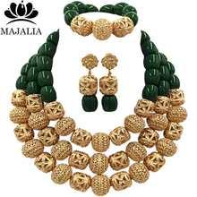 Majalah אופנה פנינת אפריקה חתונה ניגרי כתום קורל שרשרת תכשיטי סט תכשיטי כלה להגדיר משלוח חינם VU015(China)