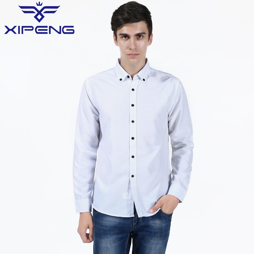 New Fashion Casual Men Shirt Long Sleeve Dot Anchor Print ...