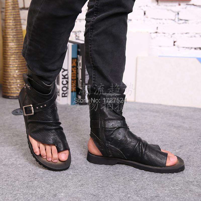 designer flip flops qbc5  2015 New Designer Men Genuine Leather Sandals Fashion Ankle Wrap Flip Flops  Cool Gladiator Sandals Men