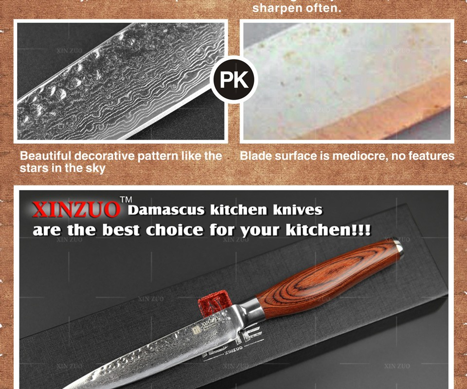 "Buy 2015 New 73 layers 5"" utility knife Japanese Damascus steel kitchen knife fruit knife with Color wood handle free shipping cheap"