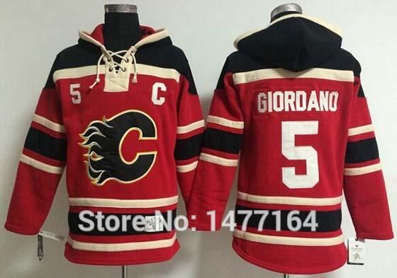 Free Shipping Calgary Flames #5 Mark Giordano Ice Hockey Jersey Hoodie Red Stitched Mens Hoodies Sweatshirt M-XXXL