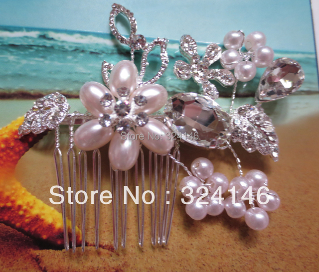 Women Bridesmaid Wedding Leaf Hair Accessories Pearl Flower Hair Comb Tiara Drop Rhinestone Crystal Bridal h Jewelry