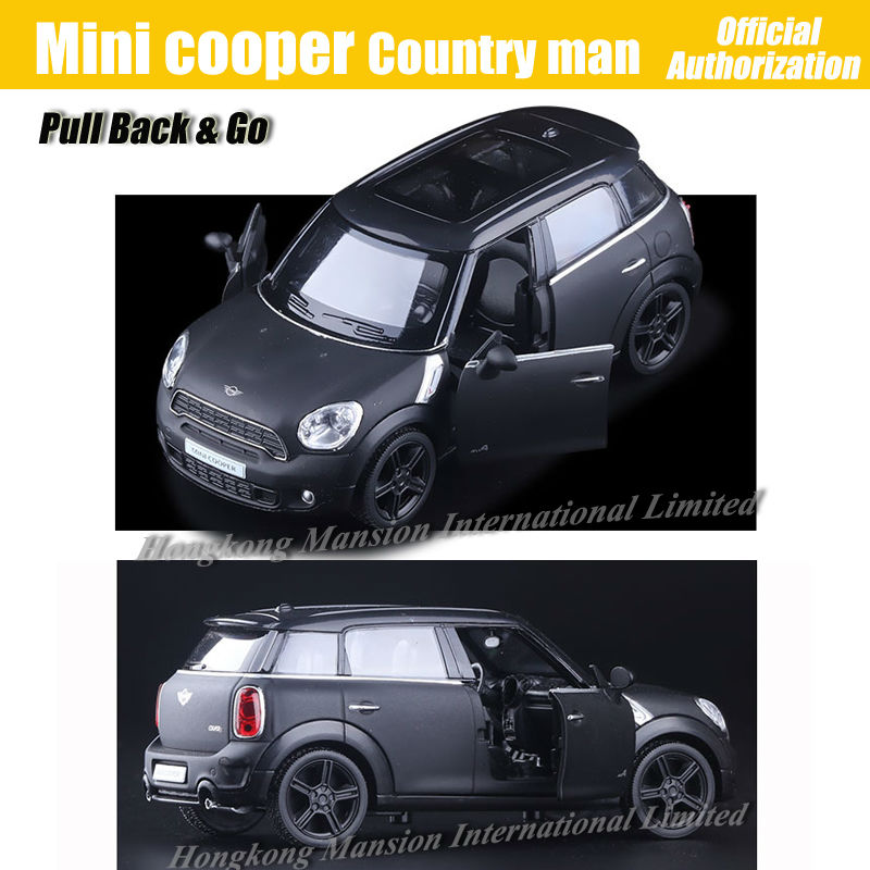 1:36 Scale Diecast Alloy Metal Car Model For MINI Cooper S Countryman Collection Licensed Model Pull Back Toys Car - Matte Black(China (Mainland))