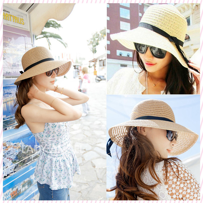 2015 New Fashion Sun Hat Women's Summer Foldable Straw Hats For Women Beach Headwear 2 Colors Top Quality Wholesale(China (Mainland))