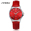 SINOBI 2016 New Fashion brand leather strap Diamond quartz women watches women ladies dress watches Female