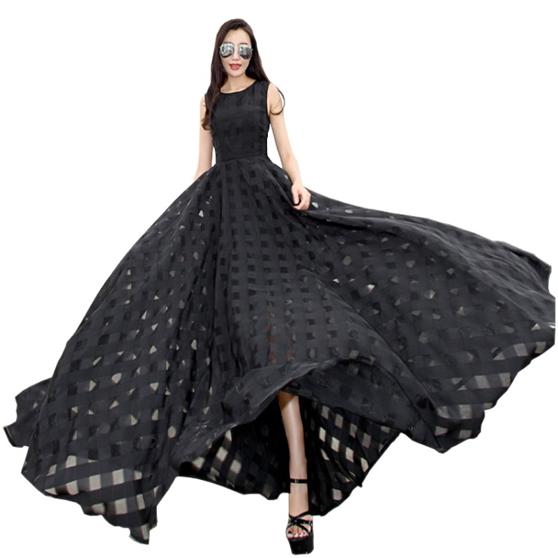 Elegant Plaid Women Summer Long Dress Organza day Ladies Vintage Beach Dress Sleeveless Black White Maxi Dress Vestidos(China (Mainland))