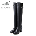 Autumn Winter Over The Knee Woman Boots Chunky High Heels Boots Women Winter Boots Pointed Toe