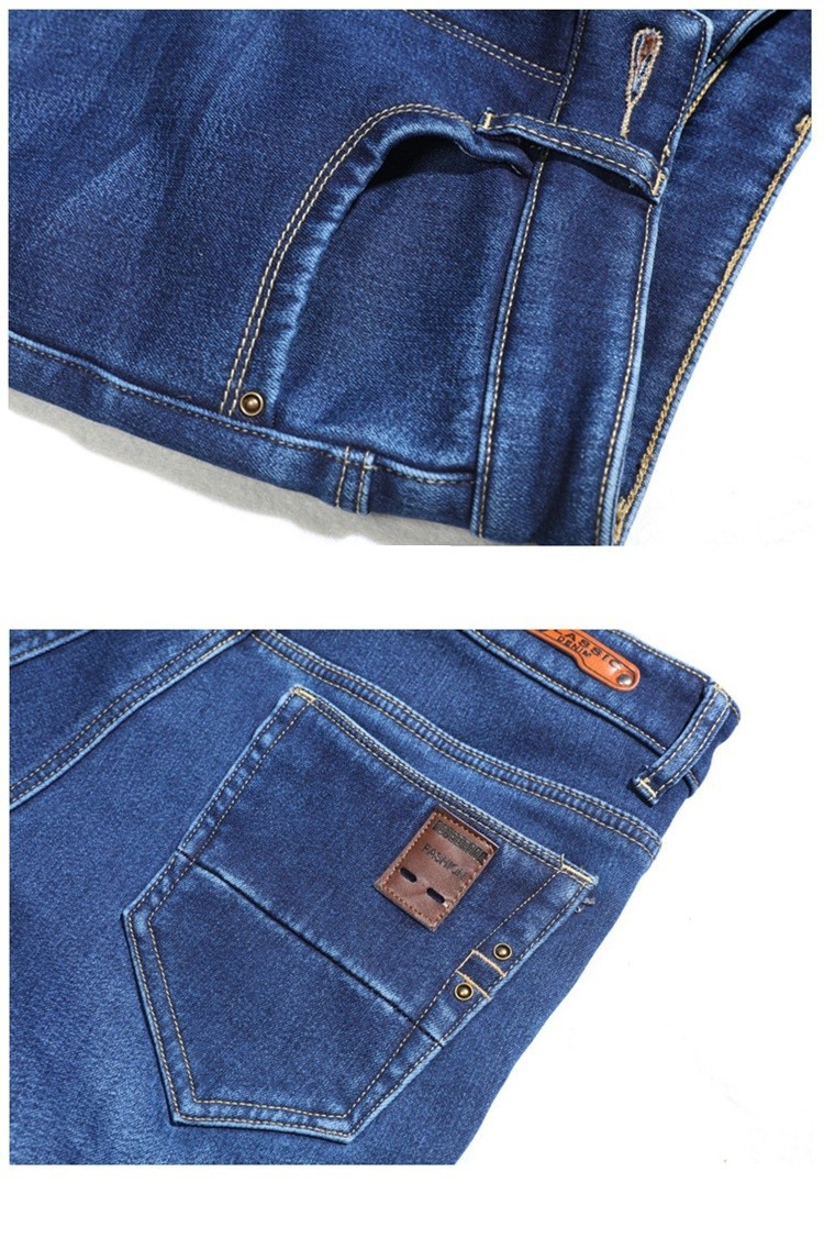 Скидки на 2016 М новая зимняя плюс бархат теплой стрейч джинсы прямые