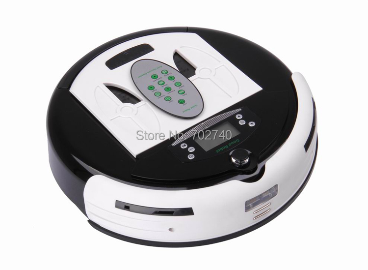 2015 New White Multifunction Vacuum Cleaner Self Charge Home Remote Control Two Side Brushes Robot LCD Screen Vacuum Cleaner(China (Mainland))