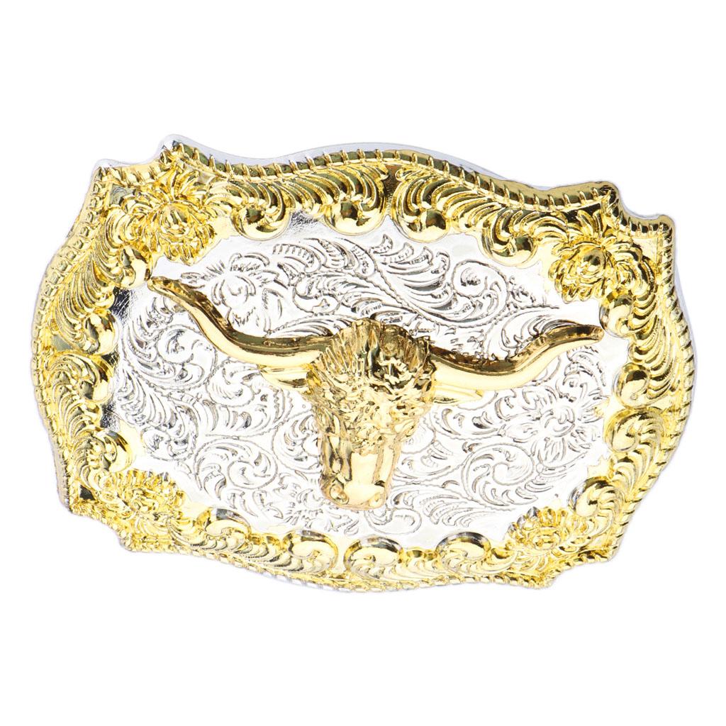 Fashion American Western Cowboy Vintage Gold Bull Head Metal Belt Buckle Motorcycle Men Belt Accessory
