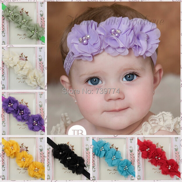 Fashion 2014 New Chiffon Headwear Minnie Baby Girl Toddler Children Elastic Ribbon Hair Band Flores Satin Flower Headbands(China (Mainland))