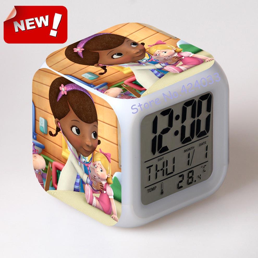 Doc Mcstuffins Alarm Clock Led Light 7 Color Change Projeksiyon Desk Accessories Square Table Clock Vintage Table(China (Mainland))