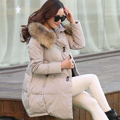 2015 Winter Women Down Jackets Thick Down Coat Warm Long Fur Hood Coat Slim Down Cotton Padded Women Parka Coat