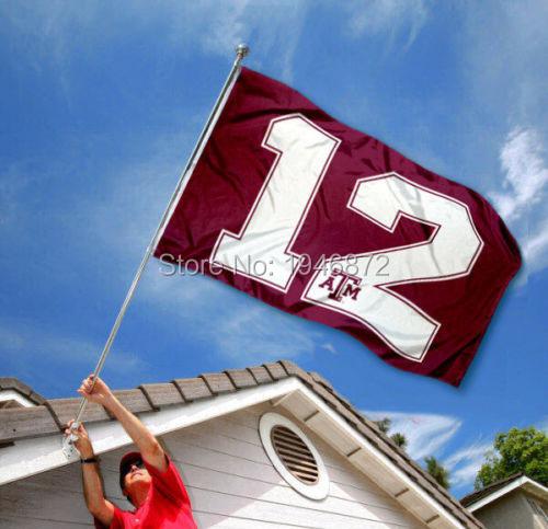 Texas A&M Aggies 12th Man NCaa Banner Flag 3' x 5' Custom Football Hockey Baseball Flag(China (Mainland))