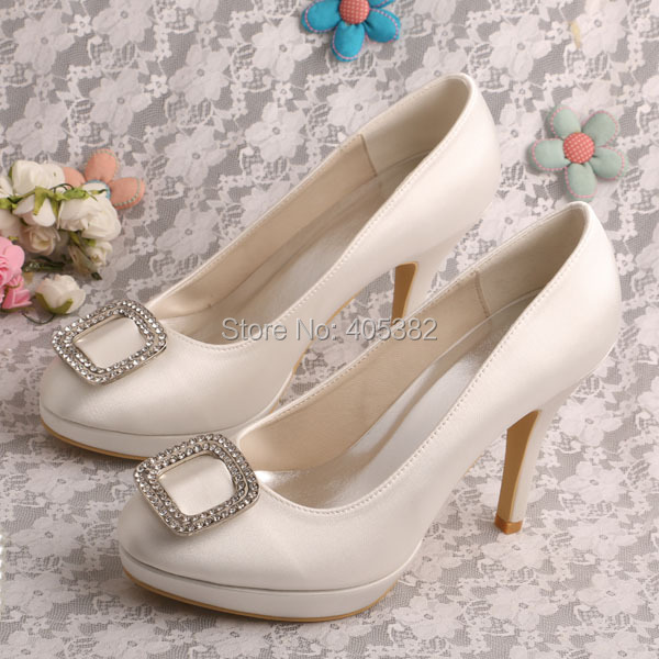 New Design Rhinestone Women's High Heels Pumps Ivory White Red Party Wedding Bridal Shoes