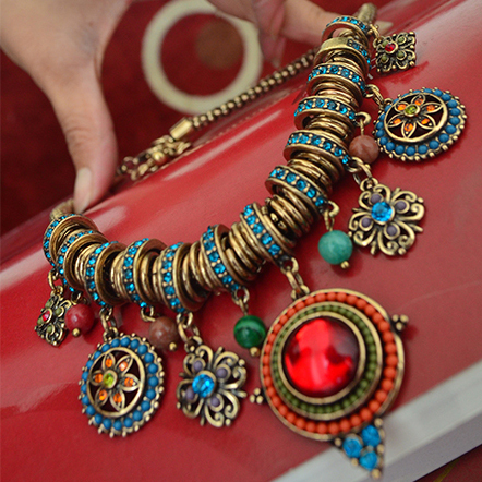 Large Afghani Tribal Lapis Necklace Belly Dance Accessories Tribal Dance Necklace Dance Jewelry<br><br>Aliexpress