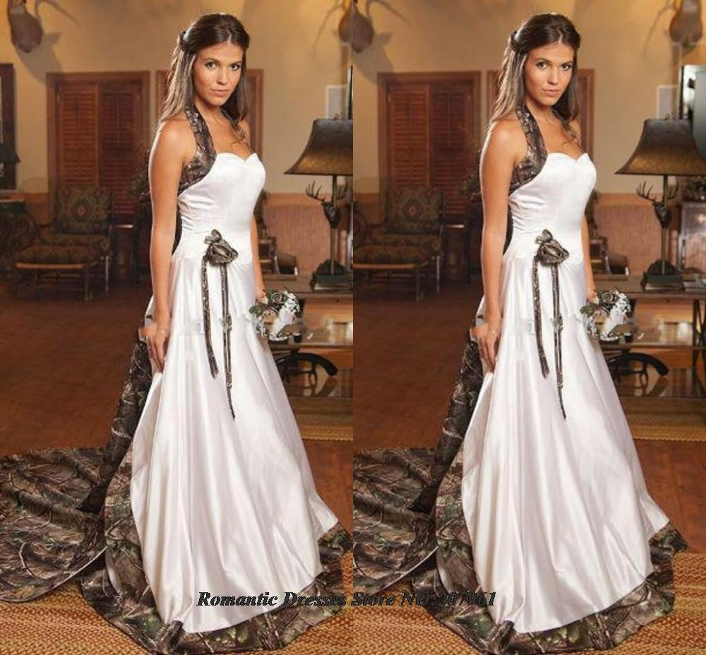 2016 elegant halter a line camo wedding dresses removable A line wedding dress with detachable train